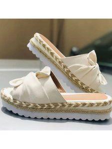 Damen Plateau-Keilsandalen mit offenen Sandalen mit Seilknoten-Strandpantoffeln,Farbe: Weiß,Größe:41