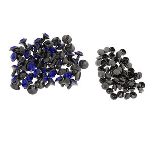 50 Sets Kristallnieten Größe 8 mm Farbe schwarz