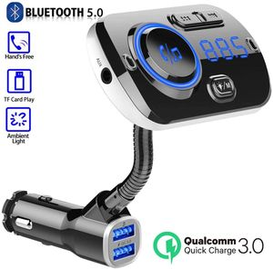Bluetooth FM Transmitter for Car, Wireless Bluetooth 5.0 Car Radio Adapter Transmitter QC 3.0 Dual USB Car Charger Kits with Hands-Free Calling Music Player TF Card Aux Input Supported