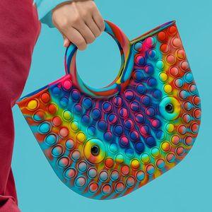 2 in 1 Handtasche Push Pop Bubble Spielzeug Tasche, Kreative 40 * 30cm Einkaufstasche Schultertasche Pop it Zappeln Sensorische Silikontasche für Damen