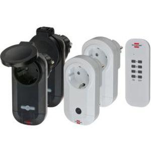 Brennenstuhl Funkschalt-Set RC CE1 2201 (4er Funksteckdosen Set Innen- und Außenbereich, mit Handsender, IP20/IP44 Schutz und Kindersicherung) weiß/schwarz
