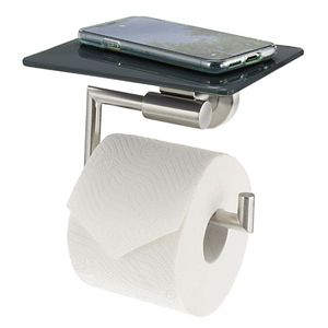 bremermann Bad-Serie PIAZZA - Toilettenpapierhalter mit Ablage - grau, Edelstahl matt & Glas