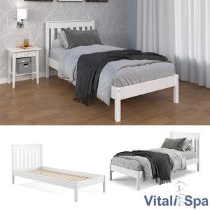 VitaliSpa Einzelbett 90x200cm inkl Lattenrost Holzbett Bettgestell Jugendbett ohne Matratze