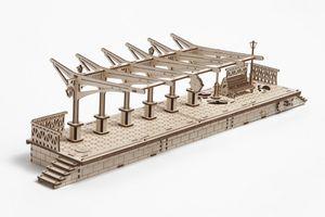 Ugears - Holz Modellbau Railway Platform Bahnhof Bahnsteig 196 Teile