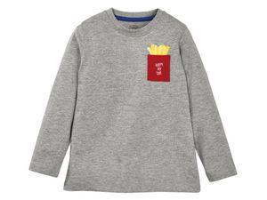 Kinder Jungen Langarmshirt Pullover Shirt Jungenshirt - Grau, 110/116