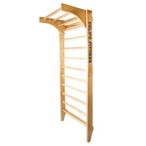Sprossenwand Kletterwand Turnwand Klettergerüst Turngeräte Holz Kinder indoor, Farbe:Mit Klimmzugstange