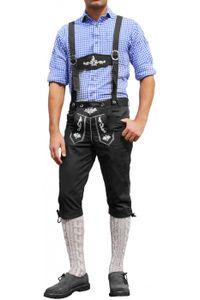 Trachten Kniebundhose Oktoberfest Jeans Hose mit Hosenträgern Schwarz, Größe:48/S