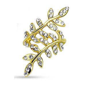 Gold - Ohrklemme Kristallblätter Silber Messing Damen
