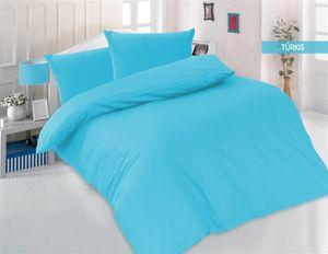 Bettwäsche 200x200 + 2 x 80x80 cm 100% Baumwolle Renforcé Uni 3 teilig Bettgarnitur Bettbezug Set mit Reißverschluss Türkis