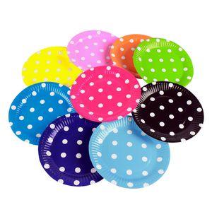 """100pcs 7"""" Mehrfarbig Platten Platten für Picknicks und Partys, Papier Geschirr Set für Kindergeburtstag"""