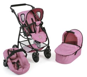 Bayer Chic 2000 3 in 1 Kombi Puppenwagen EMOTION ALL IN - Farbe: Jeans pink; 637 70