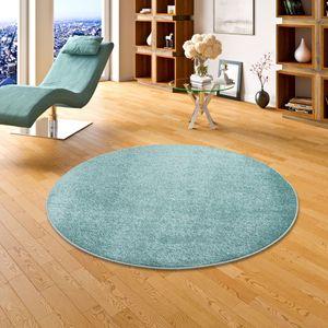 Hochflor Velours Teppich Luna Mintgrün Rund, Größe:133 cm Rund