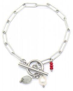 gliederarmband Stone Damen 17,5 cm Edelstahl silber