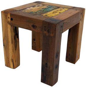 Hocker, Beistelltisch aus Recyceltem Teakholz - Modell 7, Braun, 30*30*30 cm, Sitzmöbel