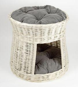Katzenturm mit Schlafplatz + Höhle aus Weide rund Weiß, Größe:+ Kissen in Grau