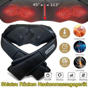 24W Massagegerät Shiatsu Nacken Rücken Elektrische Massage Vibration mit Wärmefunktion Deep 4D Shiatsu Massager Kunstleder
