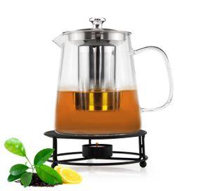 Teekanne 1,2L mit Edelstahl Sieb und Stövchen Teebereiter Glaskanne Teeset Kanne