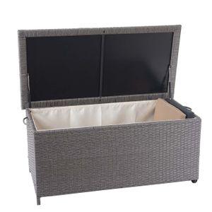 Poly-Rattan Kissenbox HWC-D88, Gartentruhe Auflagenbox Truhe  Premium grau, 51x115x59cm 250l