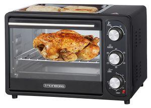 Steinborg 3 in 1 Mini-Backofen mit Grillplatte | 20 Liter | Pizzaofen | Backofen mit Umluft | 1300 W