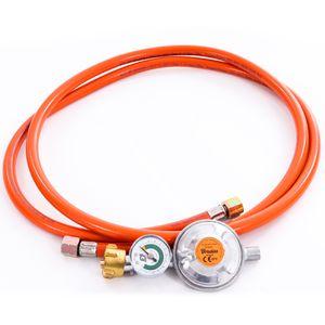 Gasschlauch Set bestehend aus Gasdruckregler 50 mbar mit Manometer und Sicherheitsventil sowie flexiblem Gasschlauch 200 cm - ideal für Gasgrills, Heizstrahler, Hockerkocher, Gaskocher, Lampen, uvm.