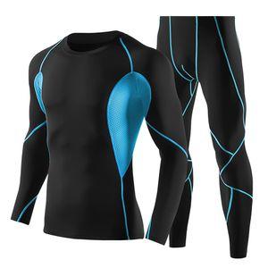 Maenner 2 stuecke Trainingskleidung Set Schnell Trocknend Langarm Compression Shirt und Hosen Set Fitness Gym Sport Laufanzuege