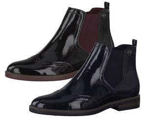 Tamaris Damen 1-25313-23 Stiefeletten Chelsea Boots Lack, Größe:39 EU, Farbe:Schwarz