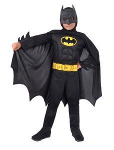 O11671-5-7 schwarz Kinder Batman Muskeln Fledermaus Kostüm Gr. 5-7 Jahre