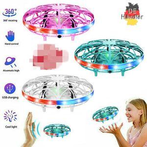 2 Stk Mini-Drohne LED Fliegender Ball UFO Induktionssuspension RC-Flugzeuge Hand Flying Spielzeuge