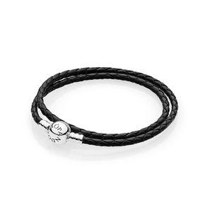 Pandora 590745CBK-D3 Armband Schwarzes Leder 41 cm