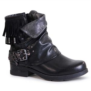 topschuhe24 1664 Damen Biker Boots Stiefeletten Fransen, Farbe:Schwarz, Größe:37 EU