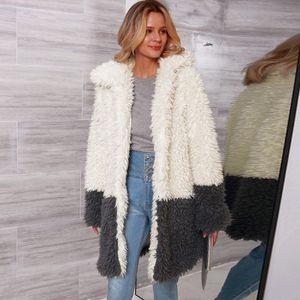 Frauen Kunstpelz Langer Mantel Jacke Mit Langen aermeln Umlegekragen Spleissen Vintage Pelzigen Winter Casual Mantel Outwear Weiss3XL