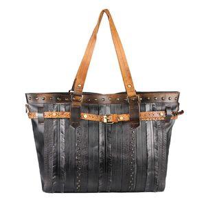 DAMEN TASCHE DIN-A4 Shopper Tote Bag Henkeltasche Handtasche Leder Optik Umhängetasche Schultertasche Beuteltasche Nietentasche Schwarz