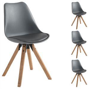 Esszimmerstuhl TYSON Retro Design 4er Set in grau