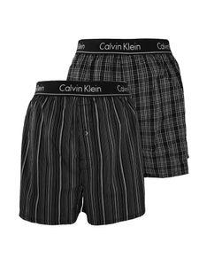 Calvin Klein Herren 2er Pack Slim Fit Boxershorts aus gewebtem Stoff, Schwarz M