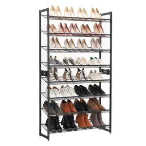SONGMICS Schuhregal 8 Ebenen | für 32 - 40 Paar Schuhe | 163,5 x 92,5 x 30,7 cm | flach /abgewinkelt montierbar | Gitterablage verstellbar | schwarz LMR08B