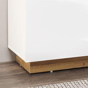 Wohnzimmer-Wohnwand-Set in weiß Glanz mit Wotaneiche CELLE-61 mit Sideboard und Couchtisch, B/H/T ca. 340/194/40 cm