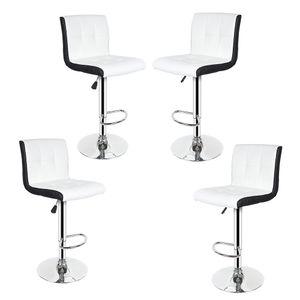 4er-Set Barhocker aus Kunstleder, Höhenverstellbar, 360° frei drehbar Weiß-Schwarz