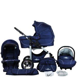 Bergsteiger Capri Kinderwagen, Farbe: marine blue / Gestell: silber, 3-in-1 Kombikinderwagen, inkl. Babyschale, Babywanne, Sportwagen und Zubehör