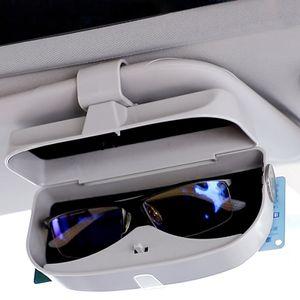 Auto Brillenetui Universal Brillenhalter Auto Sonnenbrillenhalter Schwarz Sonnenbrille Brillenetui mit  Karteneinschub Brillen Aufbewahrungsbox für Sonnenbrille Auto Sonnenblende Hellgrau