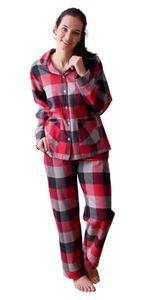 Damen Flanell Pyjama Schlafanzug in edlen Karodesign - auch in Übergrössen 201 95 321, Farbe:rot, Größe:44/46