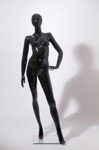 """K46980-H schöne abstrakte schwarz Glanz lackierte Schaufensterpuppe weiblich """"ohne Gesicht"""""""