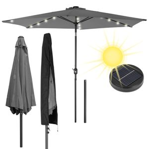 ECD Germany Alu Sonnenschirm Anthrazit Ø300cm Rund mit Kurbel inkl. LED-Solar-Beleuchtung und Abdeckung Schutzhülle wasserabweisend UV-Schutz knickbar Marktschirm Ampelschirm Gartenschirm Kurbelschirm