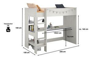 Hochbett Smoozy inklusive Schreibtisch und vieler Regalfächer Weiß Spielbett Kinderbett Jugendzimmer