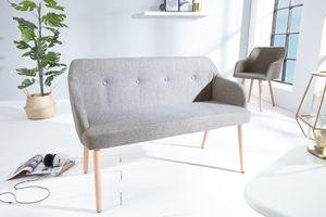 Design Sitzbank SCANDINAVIA hellgrau mit Armlehne Bank Buche Gestell im Retro Trend