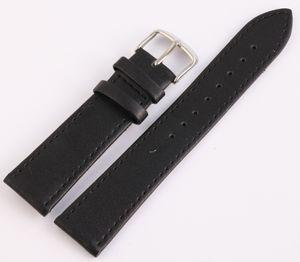 Ersatzarmband aus Echtleder mit Dornschließe in Schwarz Größe in mm: 14 mm