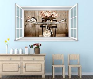 3D Wandtattoo Fenster Fahrrad Retro Rad Blume Wand Aufkleber Wanddurchbruch Wandbild Wohnzimmer 11BD448, Wandbild Größe F:ca. 140cmx82cm