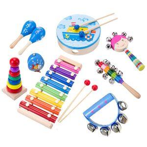 Musikinstrument Spielzeug für Kinder, Holz Percussion Instrument Set Baby Spielzeug Geschenk für Kleinkinder Kinder Vorschule Kinder 9-piece set