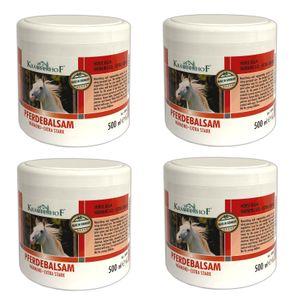 4er Set Pferdebalsam 500ml Massagegel Wärmend Extra stark Massagegel Unterstützend bei Gelenkbeschwerden, Rückenverspannungen und Muskelkater