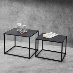 Beistelltisch Set Couchtisch 2er Set Sofatische Kaffeetisch in rechteckiger Form Nachttisch Deko Tisch Metallgestell Industriedesign Schwarz [en.casa]