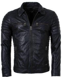 Maze Herren Lederjacke William Übergangsjacke schwarz Biker Look mit gesteppten Oberarmen, Grösse:L, Farbe:Schwarz
